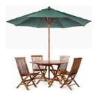 All Things Cedar TU90G Teak Umbrella With 10 Foot Vented Canopy  Heavy Duty Solid Teak 8 Rib Cage  2