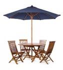 All Things Cedar TU90B Teak Umbrella With 10 Foot Vented Canopy  Heavy Duty Solid Teak 8 Rib Cage  2