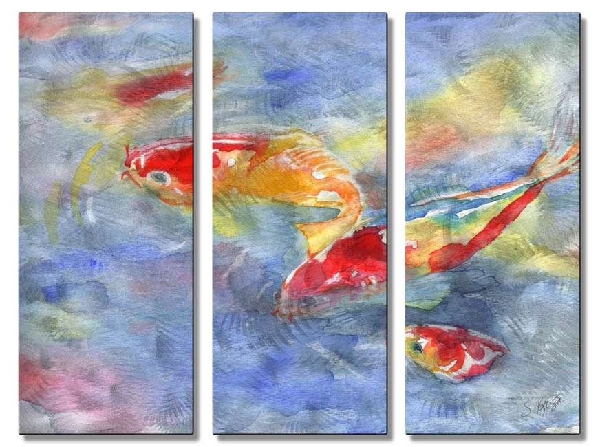 All My Walls 23 5 X 32 Koi Fish In Water Metal Wall