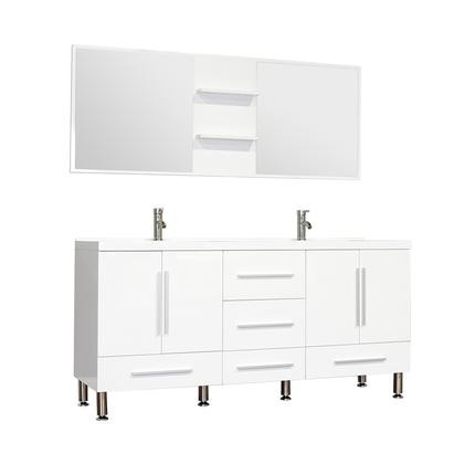 Alya Bath Ripley Collection AT 8063 W S 67 Double Modern Bathroom Vanity Set In White With Mirror