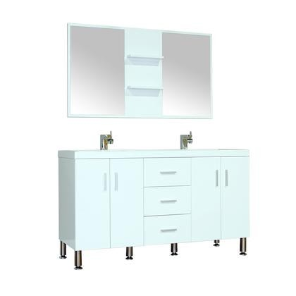"""Alya Bath AT-8043-W-DS Ripley 56"""" Double Modern Bathroom Vanity Square Sink in White without Mirror"""