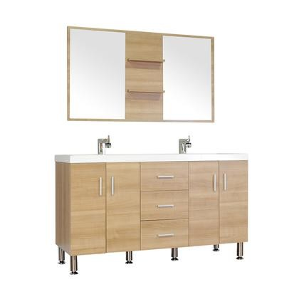 """Alya Bath AT-8043-LO-DS Ripley 56"""" Double Modern Bathroom Vanity Square Sink in Light ..."""
