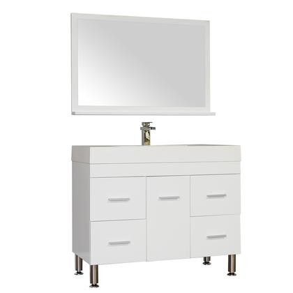 Alya Bath Ripley Collection AT 8041 W S 39 Single Modern Bathroom Vanity Set In White With Mirror