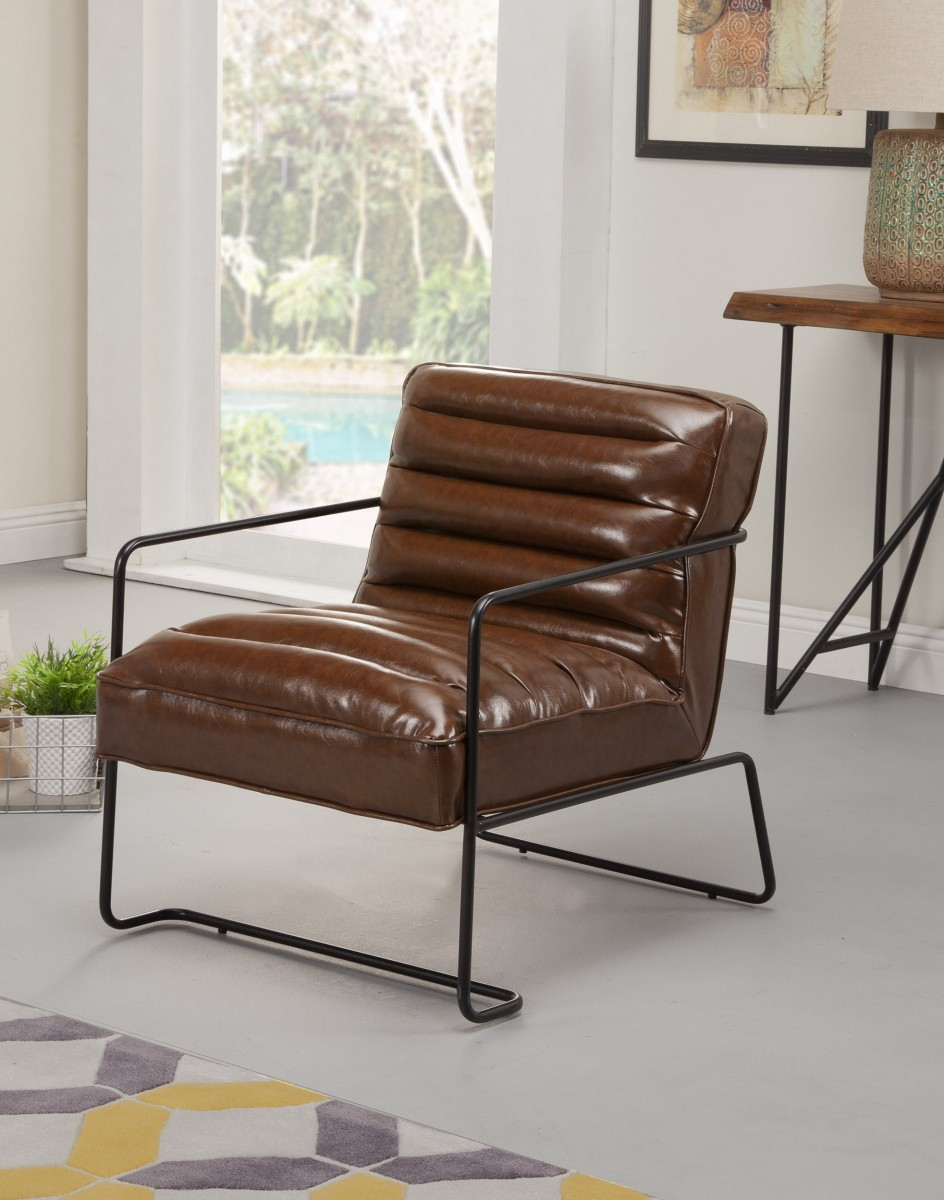 Alpine Charles Black Frame Brown Upholstered Accent Chair