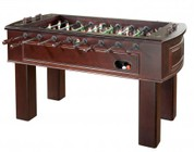 American Heritage Carlyle Series 390001 Tournament Size and Quality Foosball Table with Two Ball Returns  Adjustable Leg Levelers  Cup holders with Leather Inserts  and 3-Man Goalie System in Espresso Finish