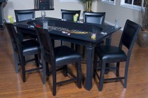American Heritage Burlington Series 100717PC 3-in-1 Game Table Set with 6 Leatherette Chairs  Craps Table  Drink Holder  Poker Chip Holder  and Flip Top Converts into Dining Table in Peppercorn Finish