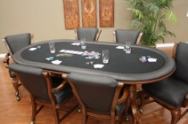 American Heritage High Stakes Series 100709SD-S 2-in-1 7 Piece Oval Game Table Set with 6 Black Leatherette Game Chairs and Flip-Top to Convert into Dining Table in Suede Finish