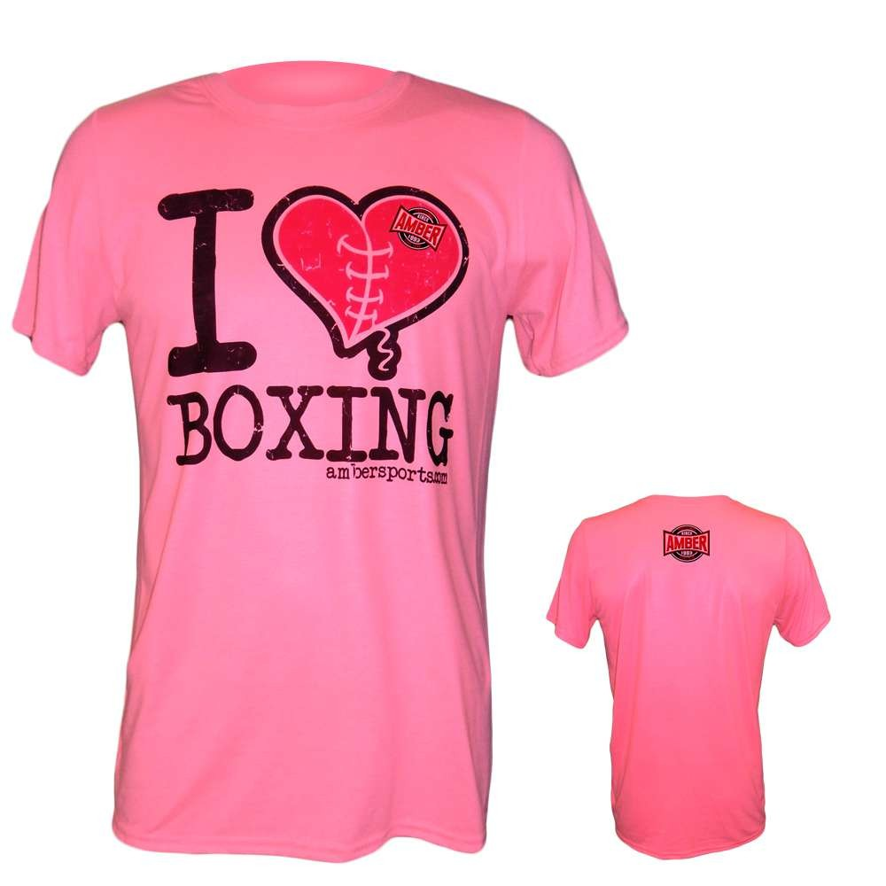 Amber Home Goods Pink Large I Love Boxing T-Shirt