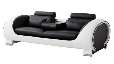 American Eagle Furniture AE D802 Collection AE D802 BK.W SF Black And White  Bonded Leather Sofa