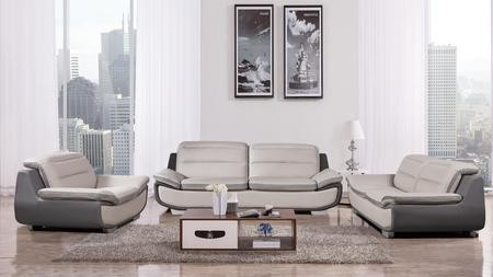 American Eagle Furniture AE638 Collection AE638 LG.DG 3 Piece Gray Bonded  Leather Living Room Set ...