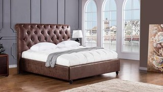 American Eagle Furniture D061 Brown Leather Air Fabric Queen Bed