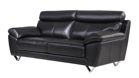 American Eagle Furniture EK078 Collection EK078 BK SF Black Italian Leather  Sofa