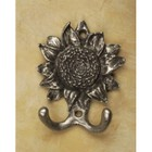 Anne At Home 427-130 Sunflower Hook - Pewter with Terra Cotta Wash