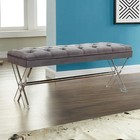 Armen Living LCJOBEGRAY Joanna Ottoman Bench in Gray Tufted Velvet with Crystal Buttons and Acrylic Legs