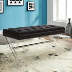 Armen Living LCJOBEBL Joanna Ottoman Bench in Black Tufted Velvet with Crystal Buttons and Acrylic Legs