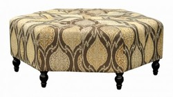 Armen Living LCPUOTAL Punjab Ottoman with 1.8 Density Fire Retardant Foam  Solid Wood Feet and Durable Woven Fabric Upholstery in Rust