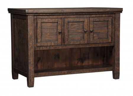 """Ashley Trudell D658-65 36"""" Rectangular Counter Table with Storage  Solid Pine Wood Construction   Subtle Wire Brushing  Distressed Weather Golden-Brown Hue and Casual Style in Dark Brown"""