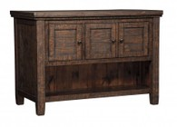 "Ashley Trudell D658-65 36"" Rectangular Counter Table with Storage  Solid Pine Wood Construction   Subtle Wire Brushing  Distressed Weather Golden-Brown Hue and Casual Style in Dark Brown"