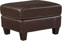 "Ashley O'Kean 5910514 35"" Ottoman with Leather Match Upholstery  Stitching Details and Tapered Legs in Mahogany"