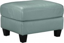 "Ashley O'Kean 5910314 35"" Ottoman with Leather Match Upholstery  Stitching Details and Tapered Legs in Sky"