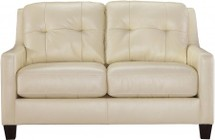 "Ashley O'Kean 5910235 60"" Stationary Loveseat with Leather Match Upholstery  Tufted Back Cushions and Loose Seat Cushions in Galaxy"