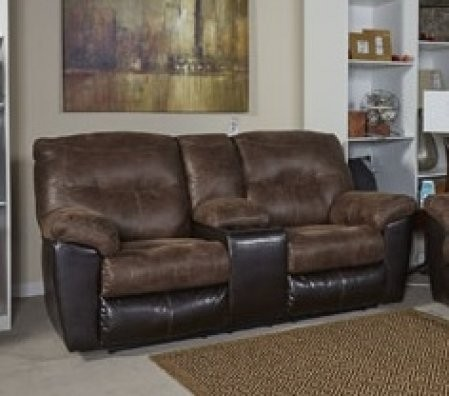 Ashley Follett 6520294 77 Reclining Loveseat With Double Recliners Console Cup Holders Jumbo Sching Pillow Top Arms And Fabric Upholstery In