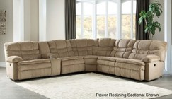 Ashley Zavion 66303-58-57-19-77-46-62 6-Piece Power Reclining Sectional Sofa with Left Arm Facing Recliner  Storage Console  Armless Recliner  Wedge  Armless Chair and Right Arm Facing Recliner in Caramel Color