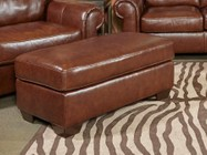 "Ashley Lugoro 5060214 44"" Wide Ottoman with Jumbo Stitching Details  Tri-Block Feet and Leather Match Upholstery in Saddle Color"