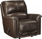 "Ashley Lacotter 8660025 37"" Rocker Recliner with Jumbo Stitching  Metal Frame  Split Back Cushion and Top-Grain Leather Upholstery in Chocolate Color"