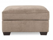 Ashley 1290011 Patola Park Ottoman with Storage  Removable Cushioned Top  Cup Holders  Low Melt Fiber Wrapped Over Foam and Fabric Upholstery in Patina Color