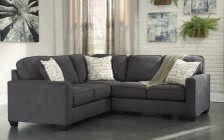 Ashley Alenya 16601-56-66 2PC Sectional Sofa with Right Arm Facing Loveseat  Left Arm Facing Sofa  Pillows with Print Pattern and Track Arms in Charcoal