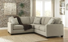 Ashley Alenya 16600-55-67 2PC Sectional Sofa with Left Arm Facing Loveseat  Right Arm Facing Sofa  Pillows with Print Pattern and Track Arms in Quartz