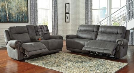 Ashley Austere 38401NSL 2-Piece Living Room Set with 2-Seat Reclining Sofa  and Double Reclining Loveseat in Grey