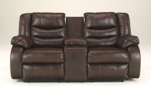 "Ashley Linebacker DuraBlend 9520194 76"" Double Reclining Loveseat with Storage Console  Two Cup Holders  Pillow Top Arms and Divided Back Cushions in Espresso"