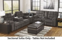 Ashley Acieona 58300-89-77-94 Sectional Sofa with Reclining Sofa with Drop Down Table  Wedge with Power Strip Outlet and Doubled Reclining Loveseat with Console in Slate