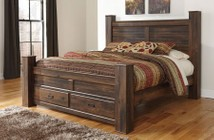 Ashley Quinden B246-68/66S/61/99 King Poster Storage Bed with 2 Drawers  Framed Panels  Horizontal Slat Details and Replicated Oak Grain in Dark Brown