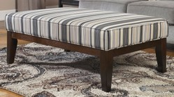 "Ashley 7790008 Yvette 48"" Contemporary Fabric Wood Frame Ottoman Cocktail Table with Striped Pattern Upholstery  Tapered Legs and Welting Details in Steel"