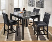 Ashley Maysville D154-223 5-Piece Dining Room Set with 1 Counter Table and 4 Upholstered Chairs in Black