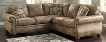 Ashley 31901-56-66 Larkinhurst Sectional Sofa with Right Arm Facing Loveseat and Left Arm Facing Sofa in Earth Color