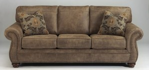 "Ashley Larkinhurst Collection 3190138 89"" Sofa with Faux Leather Upholstery  Nail Head Accents  Rolled Arms and Traditional Style in Earth"