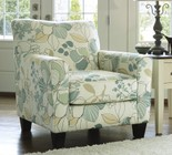 "Ashley Daystar Collection 2820021 35"" Accent Chair with Fabric Upholstery  Tapered Legs  Piped Stitching and Contemporary Style in Seafoam"