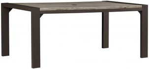 """Ashley Peachstone Collection P655-625 70"""" Dining Table with Rust Free Aluminum Frame  Rectangular Shape  Authentic Wood Look and Umbrella Hole in Brown Color"""
