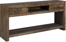 Ashley Sommerford Collection T975-4 Sofa Table with Reclaimed Pine Solids and long Butcher Block Pattern in Washed Brown Gray