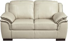 "Ashley Islebrook Collection 1520435 70"" Loveseat with Jumbo Stitching  Double Pillow Top Arms  Hardwood Construction and Leather Upholstery in Vanilla Color"