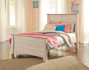 Ashley Willowton Collection B267-87/84/86 Full Size Panel Bed with Block Feet  Distressed Detailing and Plank-Design on Headboard and Footboard in Whitewashed Color