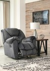 "Ashley Capehorn Collection 7690225 44"" Rocker Recliner with Scooped Pillow Wrapped Armrests  Cushioned Head-Neck Support  Metal Drop-In Seat Box and Fabric Upholstery in Granite"