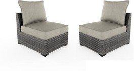 """Ashley Spring Dew Collection P453-846 (Set of 2) 29"""" Outdoor Armless Chair with Removable Cushions  Nuvella Fabric  Resin Wicker and Rust-Proof Aluminum Construction in Grey"""