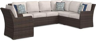 Ashley Salceda Collection P451-823 3-Piece Outdoor Set with 2-Piece Sectional Sofa  1 Chair  Removable Cushions  Nuvella Fabric  6 Pillows Included  Resin Wicker and Rust-Proof Aluminum Construction in Beige and Brown