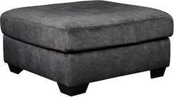 "Ashley Accrington Collection 7050908 37"" Oversized Accent Ottoman with Fabric Upholstery  Square Top and Block Feet in Granite"