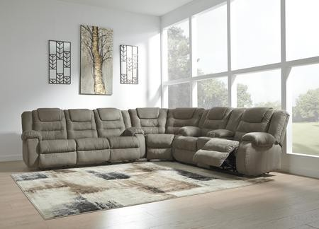 Ashley McCade Collection 10104-88-77-94 3 Piece Sectional Sofa with  Reclining Sofa Wedge Reclining Loveseat with Console in Cobblestone Color